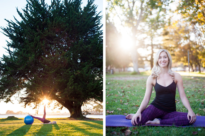 Natural light portraits of pilates instructor in Alameda