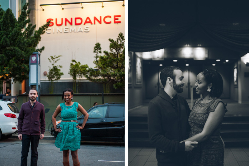 Engagement session at a movie theater in San Francisco