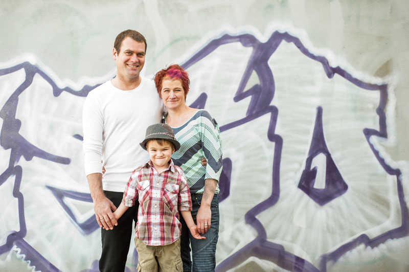 Urban family portrait in Oakland