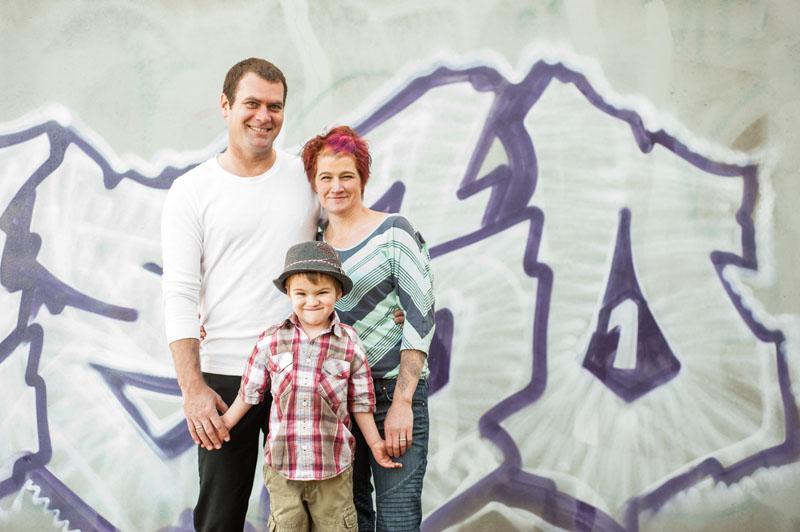 Urban family portrait in Oakland