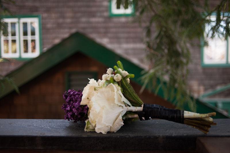 Detail of wedding bouquet at Berkeley home