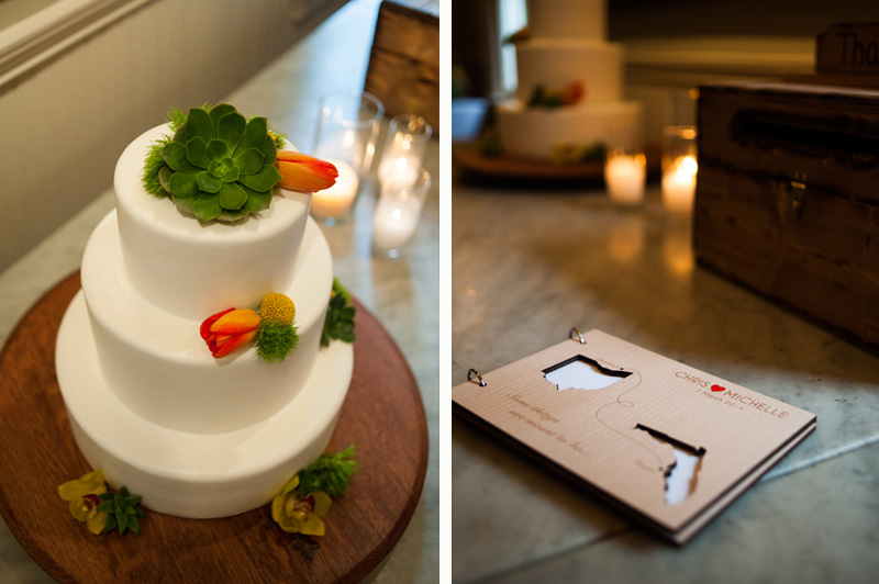 Wedding cake and guestbook