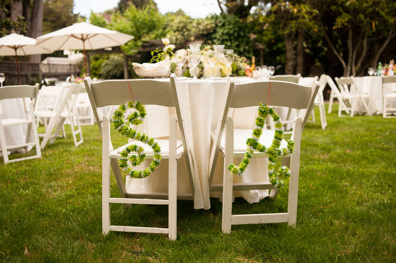 Head table with Bride and Groom's initials made of flowers