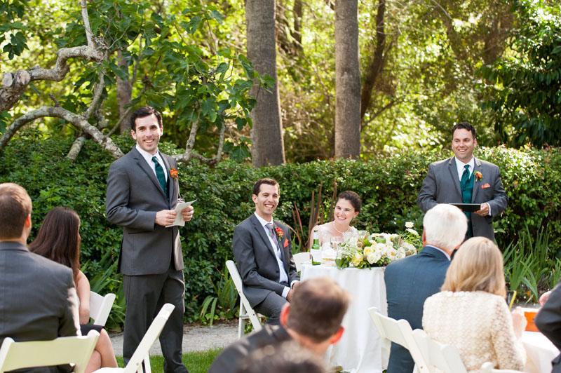 Candid of wedding toast at Point Reyes Seashore Lodge