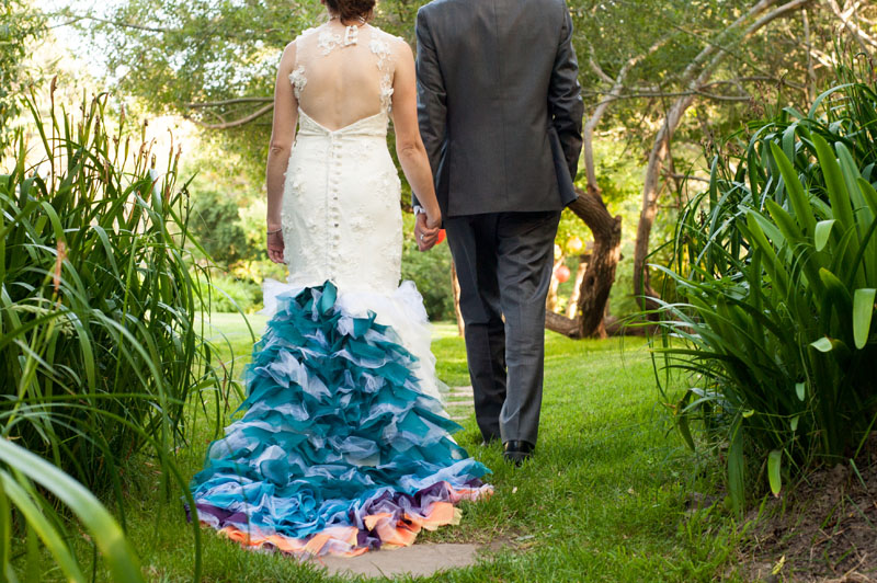 Detail of Bride's brightly colored wedding dress train
