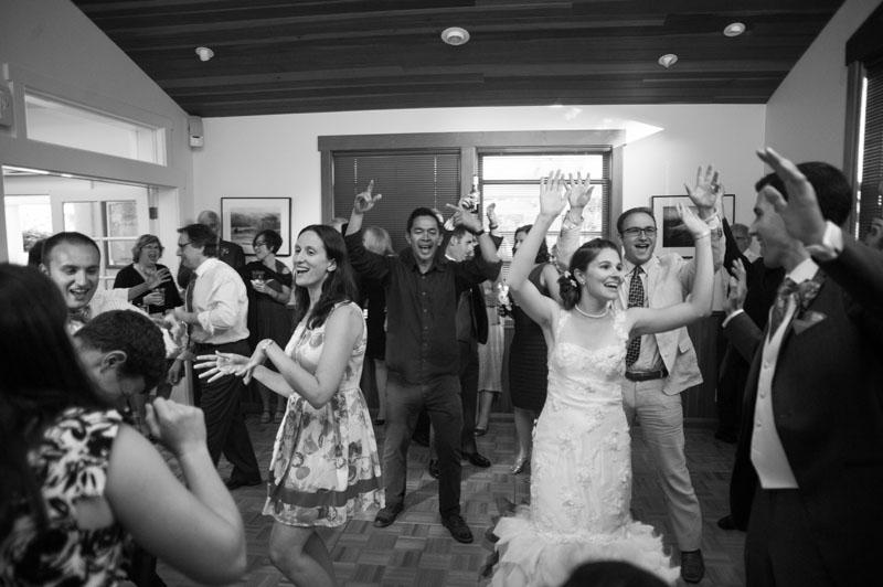 Wedding guests dancing at the Point Reyes Seashore Lodge