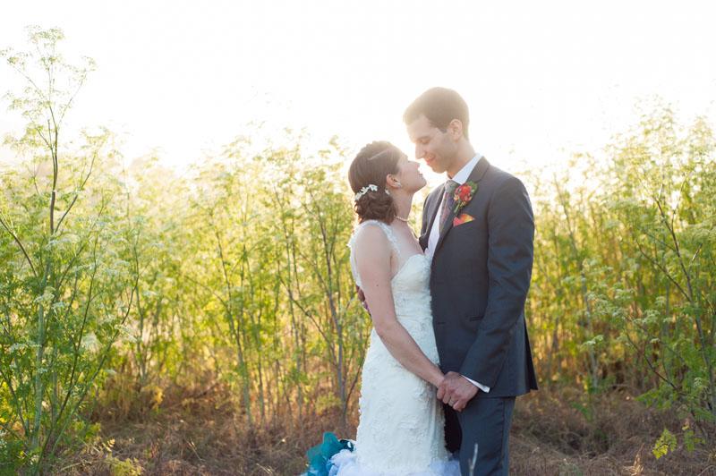 Bride and Groom at sunset at Point Reyes Seashore Lodge