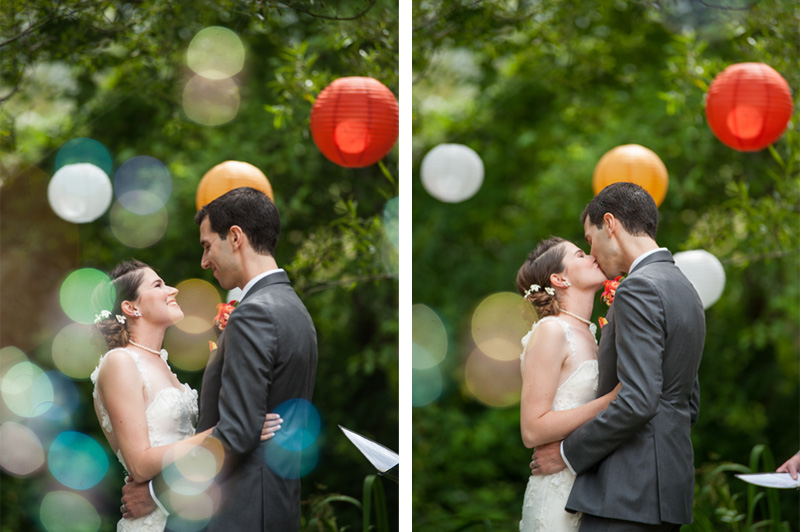 Bride and Groom kiss with out of focus bubbles