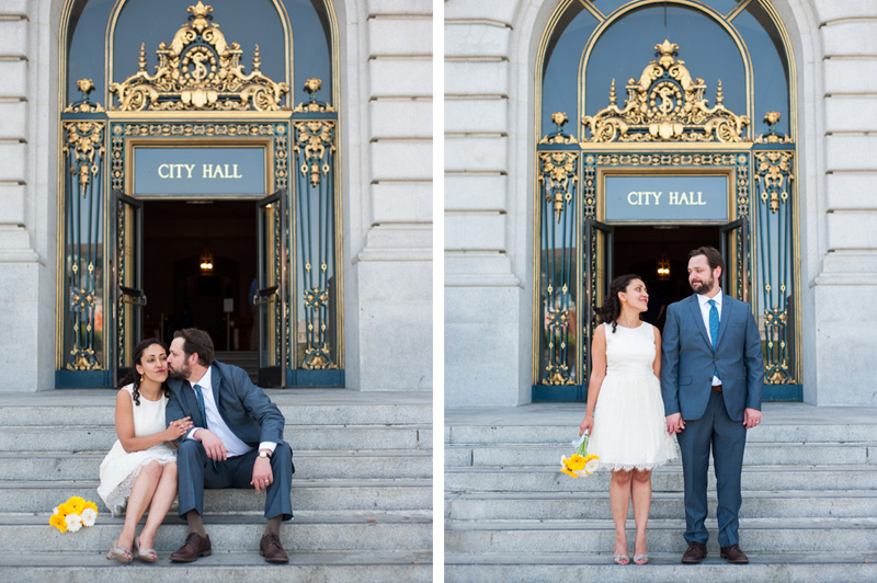 Bride and Groom just married on the steps at San Francisco City Hall