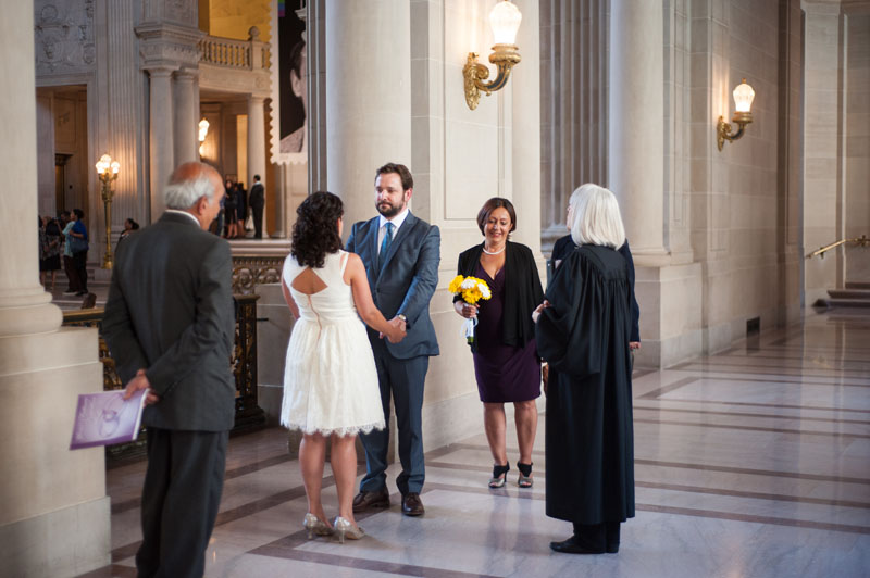 Intimate wedding ceremony at San Francisco City Hall