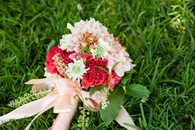 Wedding bouquet on grass near Lake Merritt