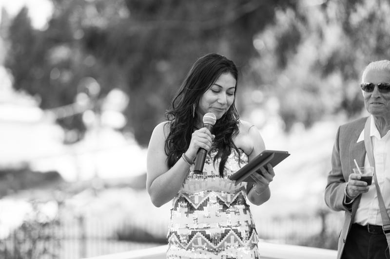 Guest giving speech at Lake Merritt wedding