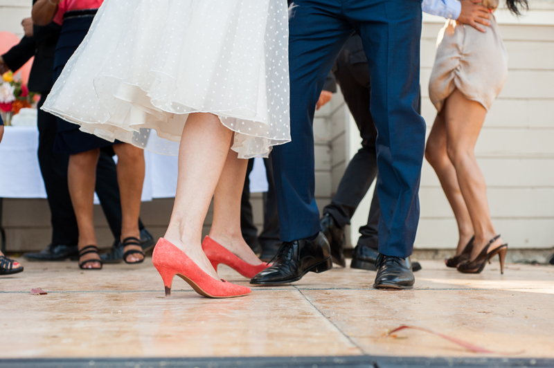 Dancing shoes at Lake Merritt wedding in Oakland