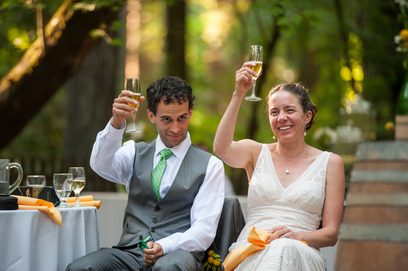 Bride and Groom rasing their champagne glasses at Griffith Woods
