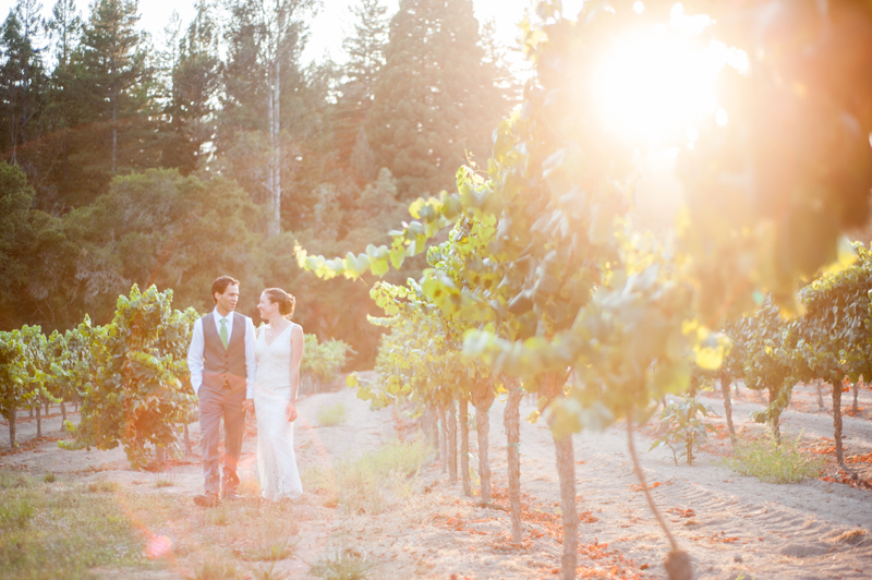 Bride and groom walking in vineyard at sunset in Santa Rosa