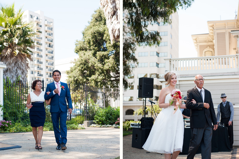 Bride coming down aisle at Lake Merritt wedding