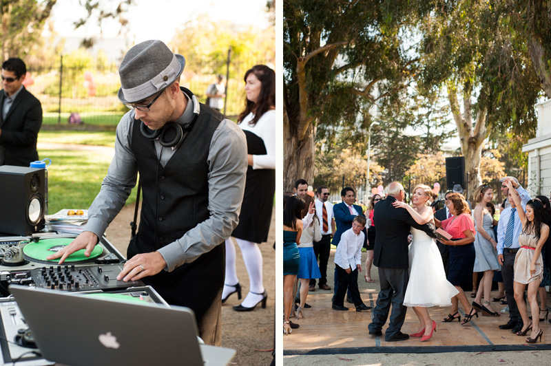 Detail of DJ and dancing at Camron-Stanford wedding