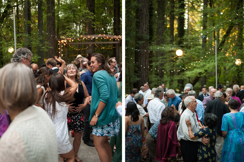 Wedding guests dancing among redwoods at Griffth Woods
