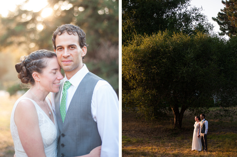 Portrait of bride and groom at Griffith Woods