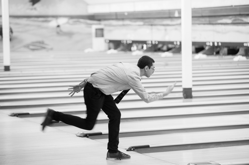 Wedding guest bowling in Pacifica, CA