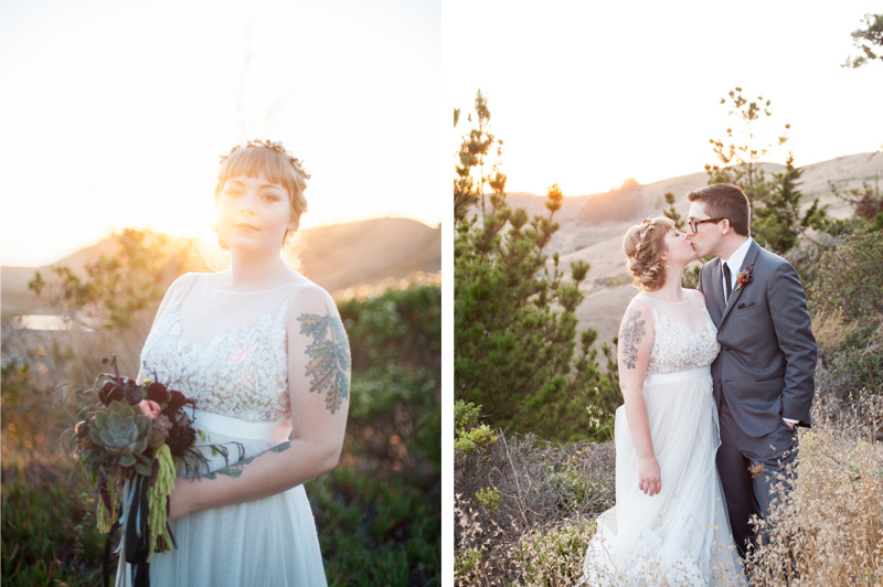 Sunset portraits of bride and groom in Pacifica, CA