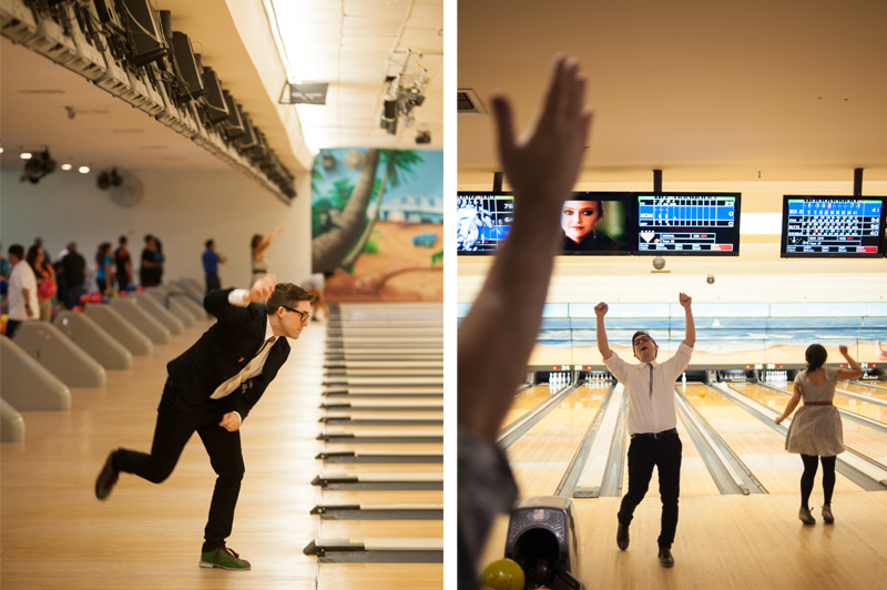 Groom celebrating during bowling in Pacifica, CA