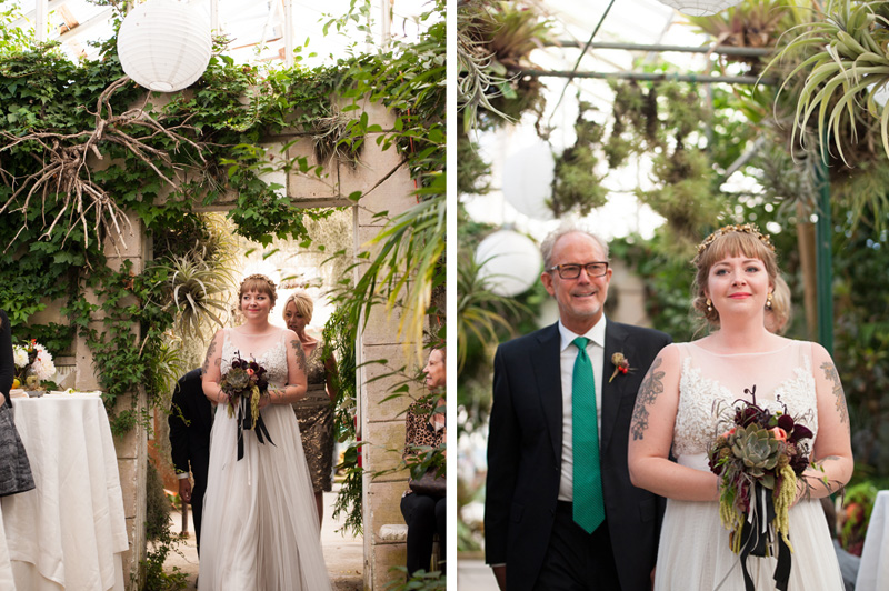 Bride walking down aisle with father at Shelldance Orchid Gardens wedding