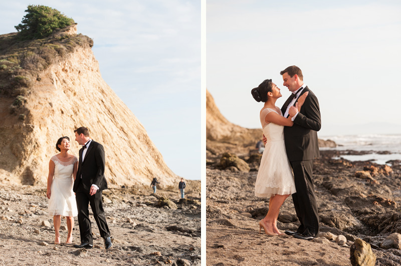 Portraits of couple on beach in Bolinas