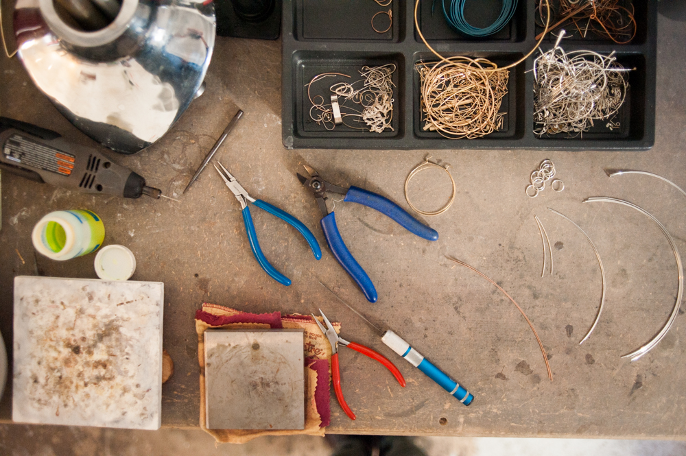 Detail photo of jewelry tools and parts