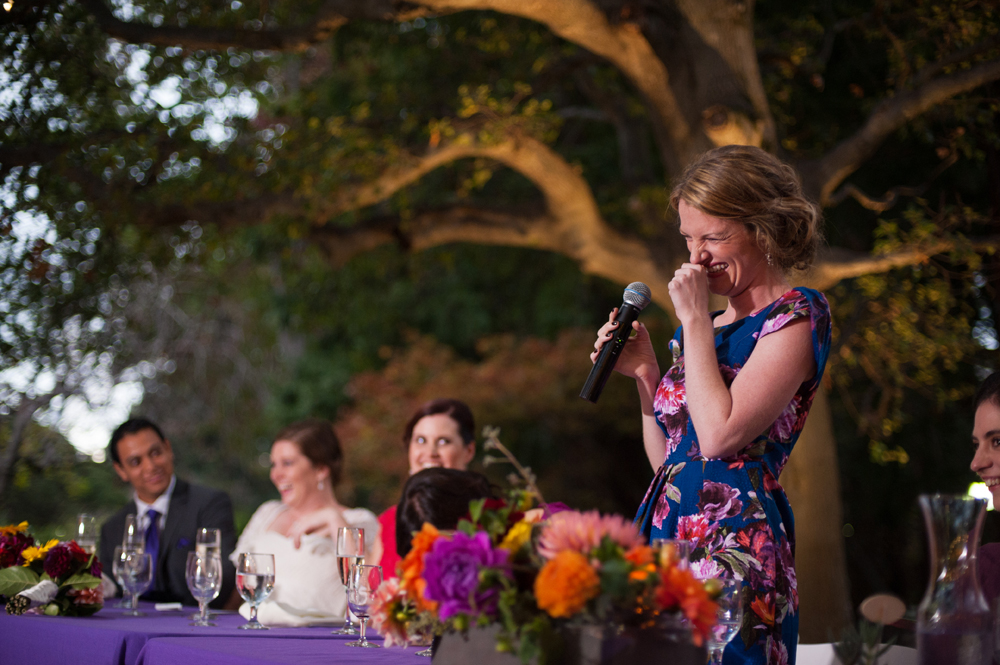 Candid photo of bridesmaid giving toast at UC Berkeley Alumni House