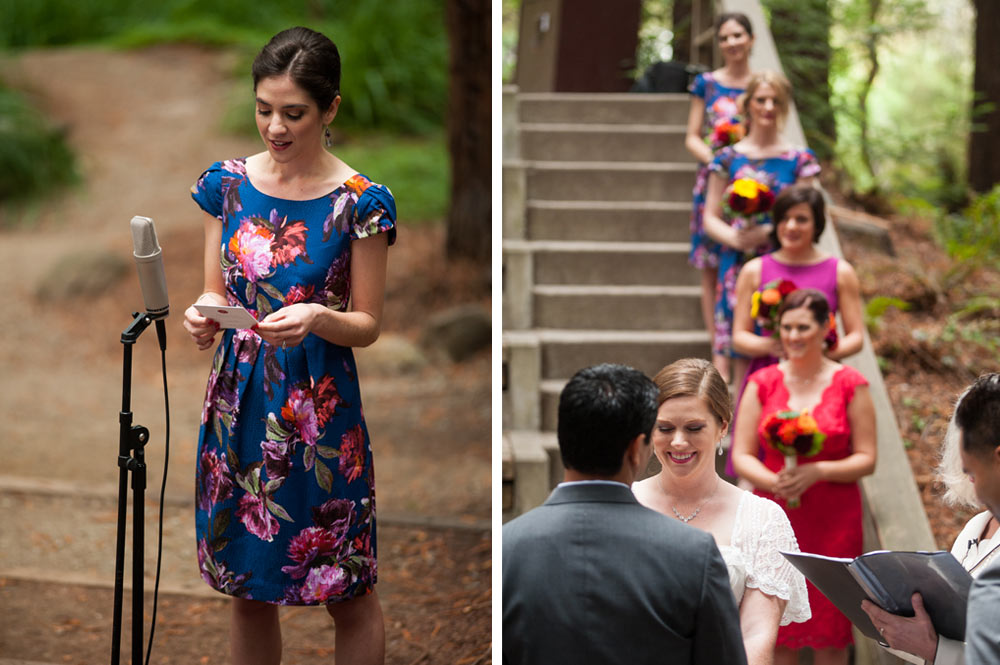 Bridesmaid gives a reading during wedding ceremony at UC Berkeley Botanical Gardens