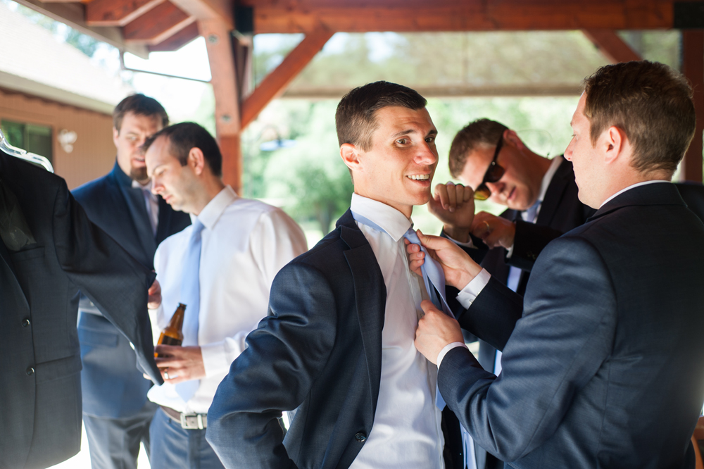 Groomsmen getting ready for wedding in Sebsatopol