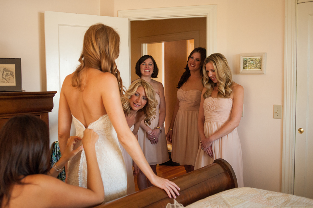 The Bride getting ready at the Vine Hill House