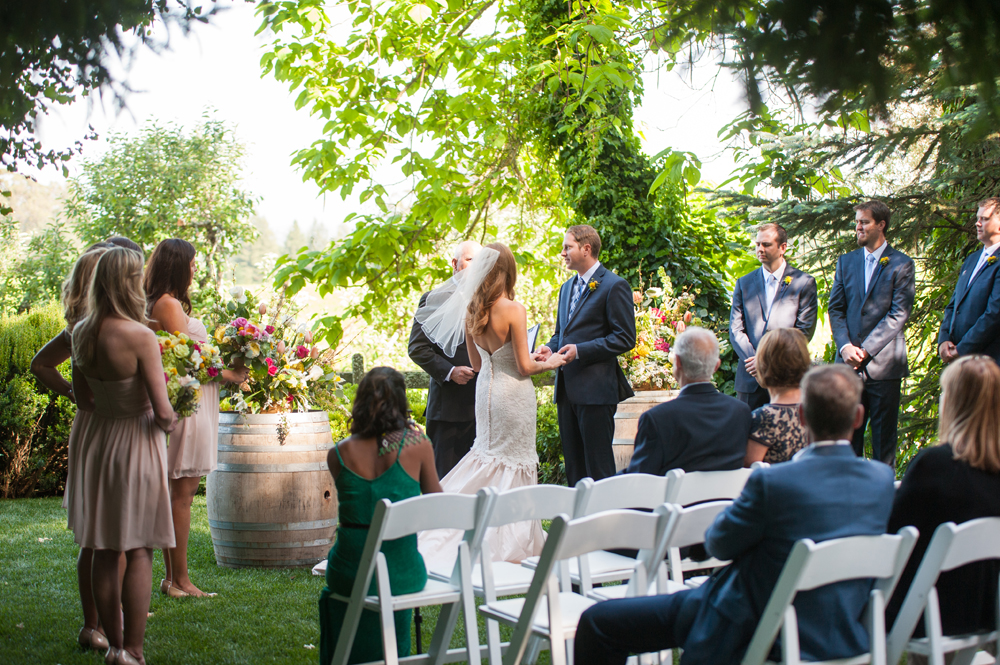 Wedding ceremony at the Vine Hill House