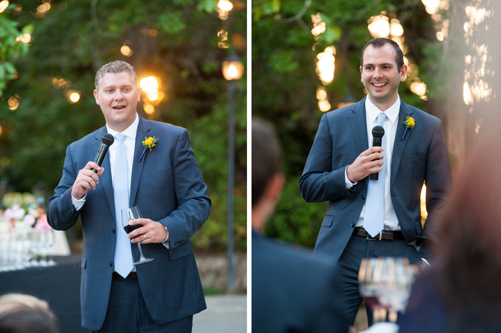 Groomsmen during wedding toast at the Vine Hill House