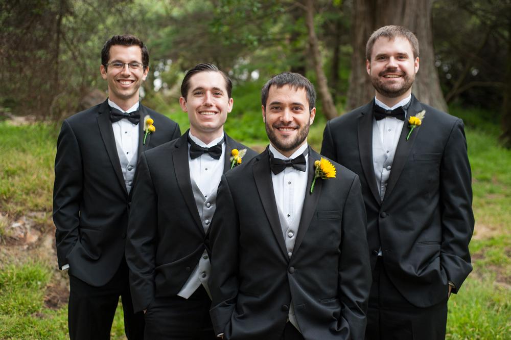 Groom and his groomsmen in Golden Gate Park