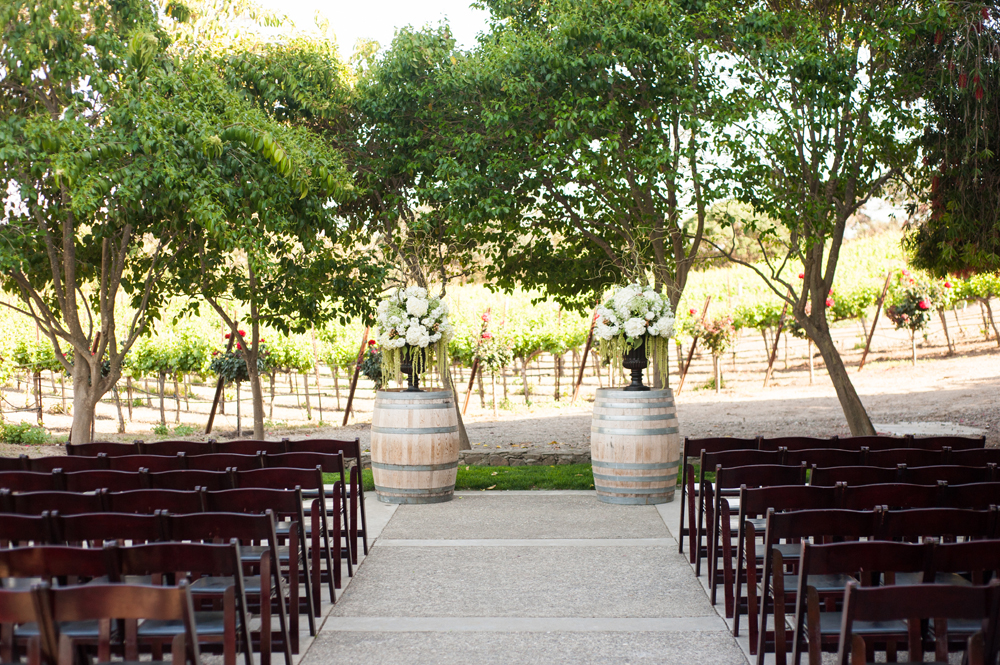 Outdoor wedding ceremony setup at Murrieta's Well in Livermore