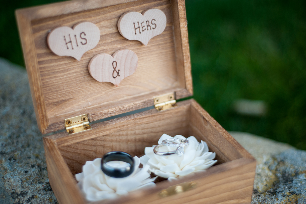 Wooden wedding ring box with hearts