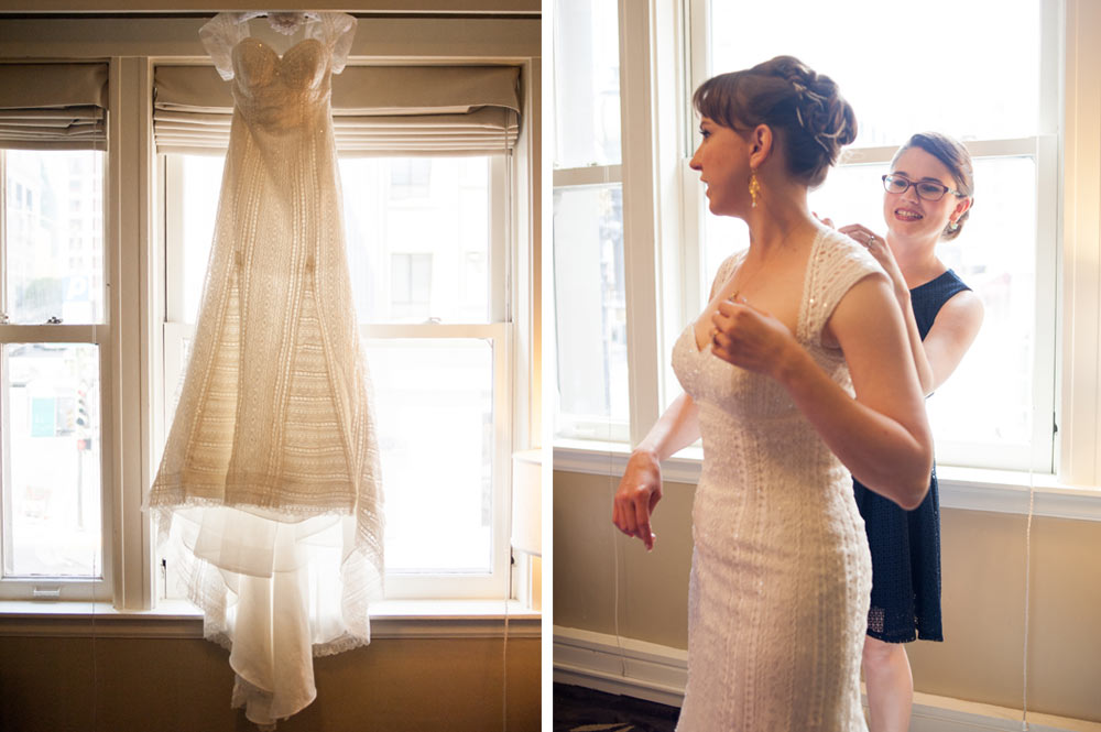 Photo of wedding dress hanging with photo of bride getting ready in San Francisco hotel room