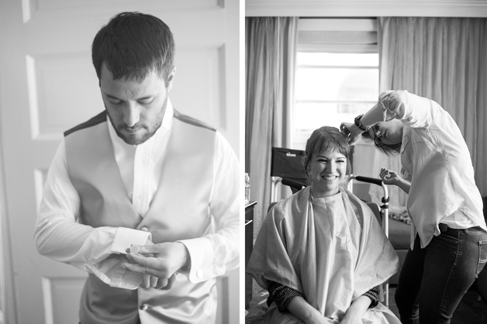 Side by side photos of bride and groom getting ready