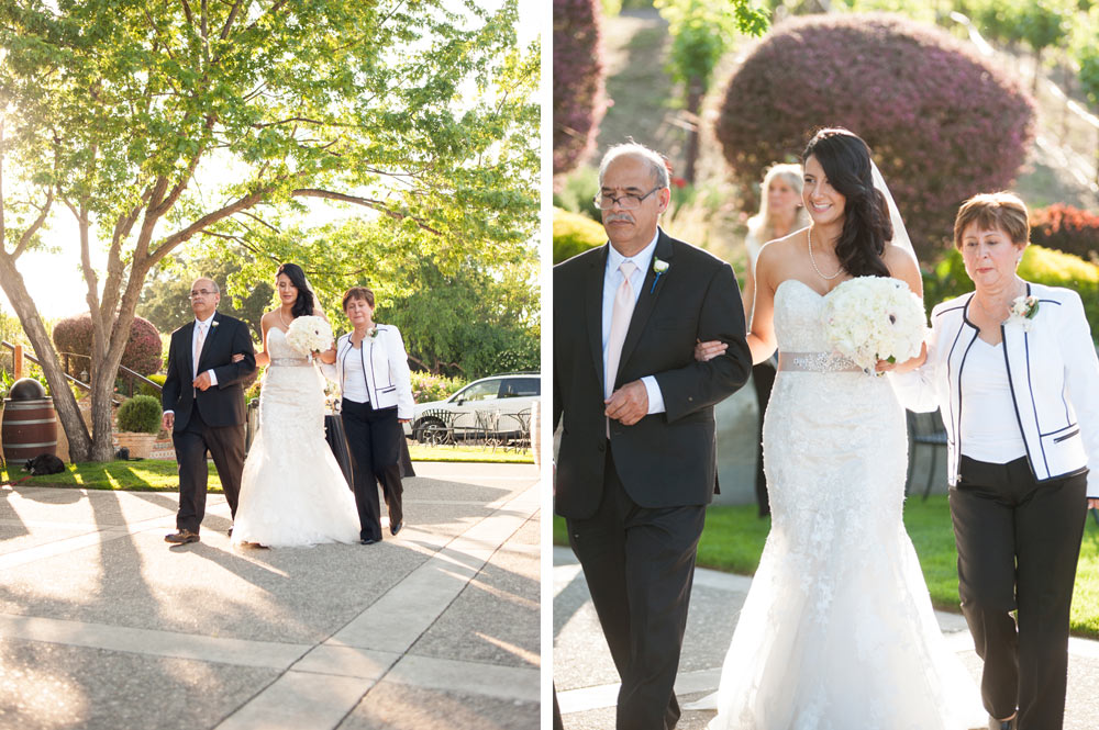 Parents walking of bride down the aisle at Murrieta's Well wedding