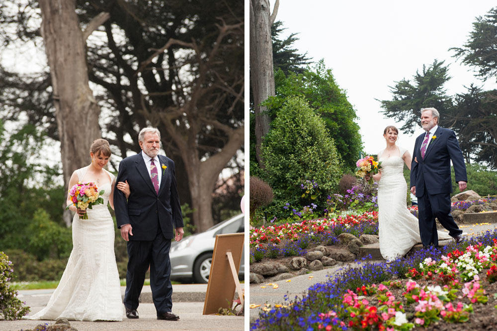 Father walking bride down the aisle at the Queen Wilhelmina Tulip Garden