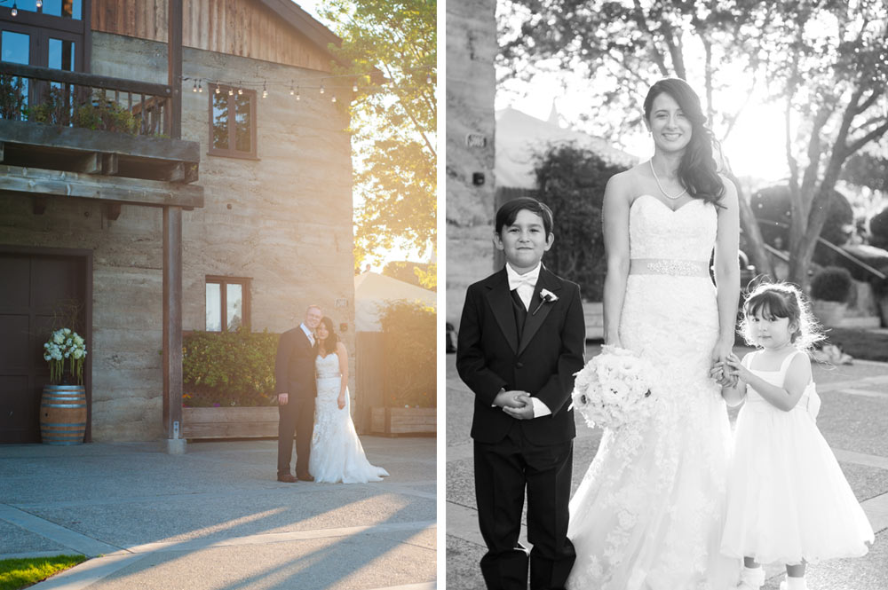 Photo of bride and groom and photo of bride with bridesmaid at Murrieta's Well