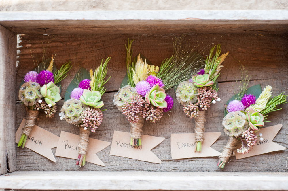 Detail of wedding boutonniere