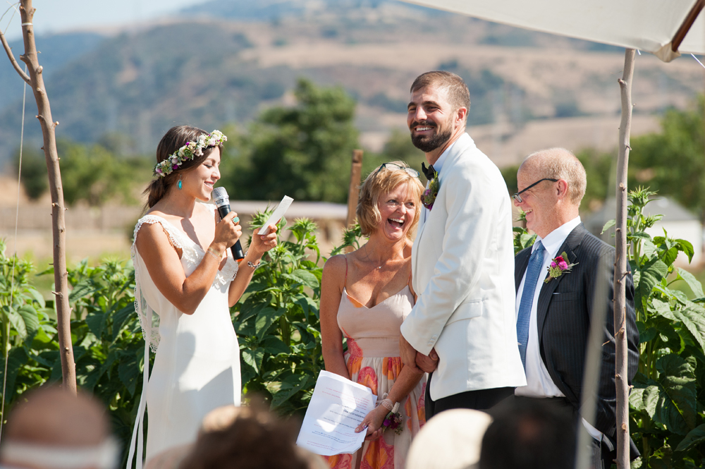 Bride saying her vows during farm wedding in Sunol