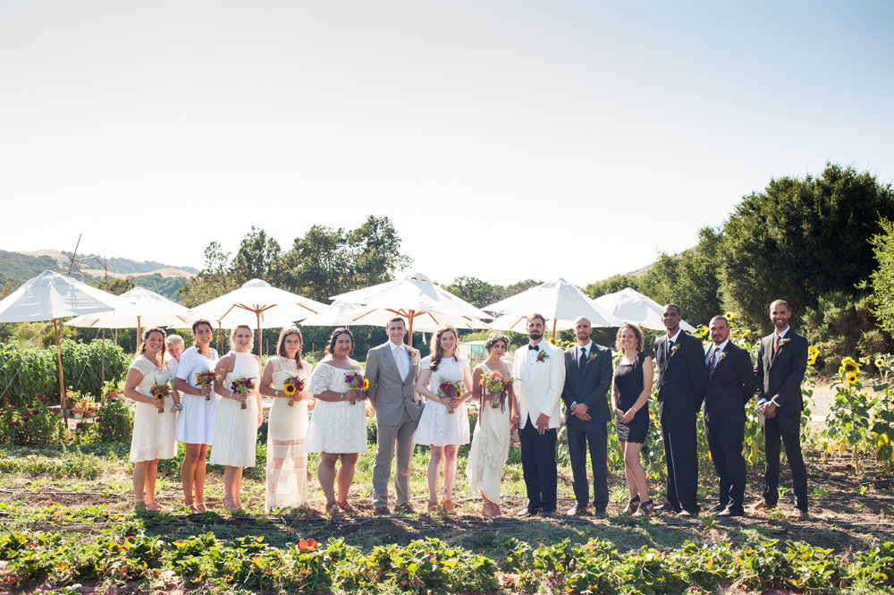 Photo of wedding party on farm in Sunol, CA