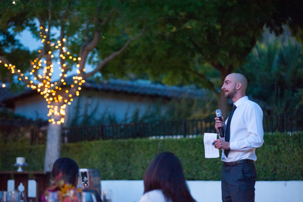 Brother of groom giving toast