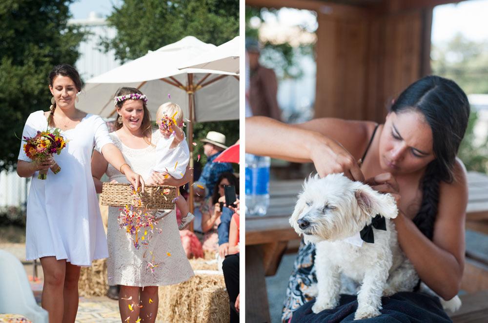 Flower girl and ring bearer dog