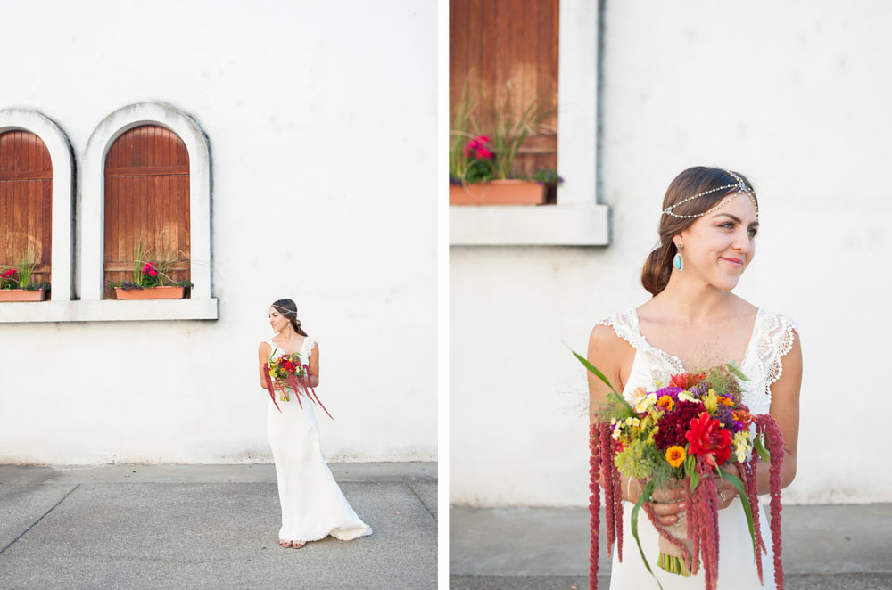 Bohemian bride in front of white wall at Wente Vineyards
