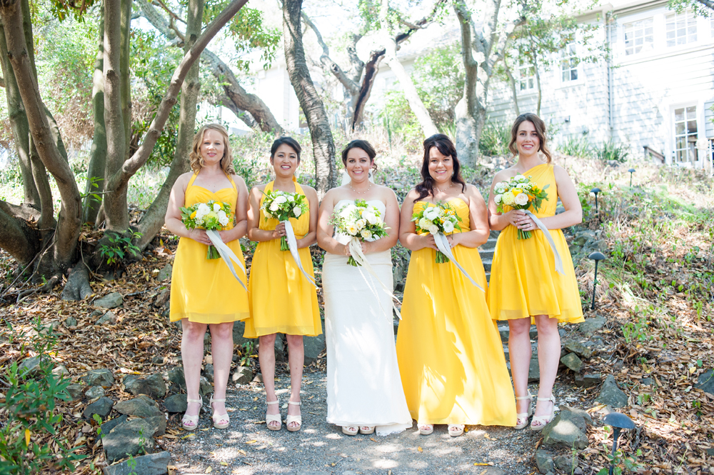 Bridal party for wedding at Scout Rock in Oakland